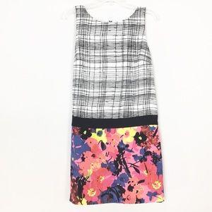 Loft Mixed Media Floral Contrast Dress